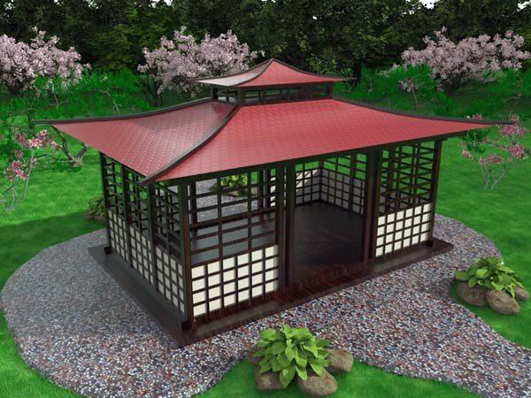 3Dпроект беседки в китайском стиле с двухуровневой крышей