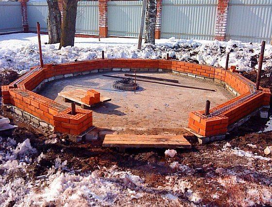 Беседка на монолитной бетонной плите