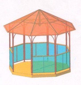 Беседка с крышей и боковинами из поликарбоната.