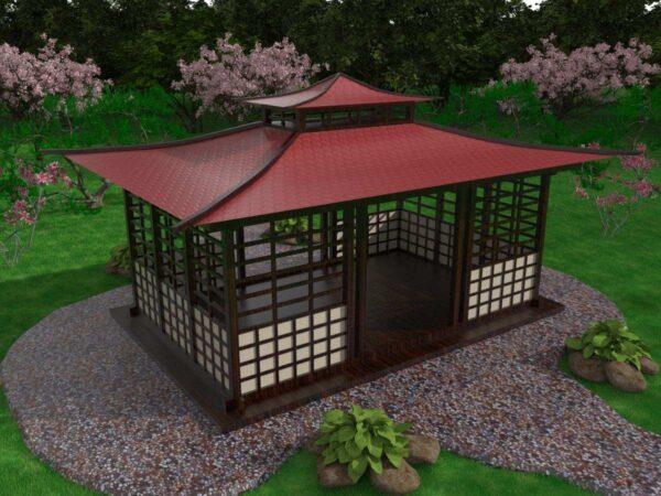 Беседка в китайском стиле имеет двухуровневую крышу
