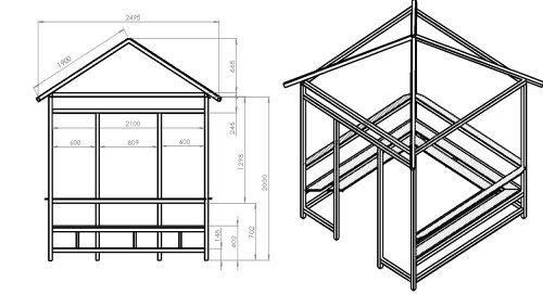 Боковой чертёж с учётом размеров и расположения будущей крыши