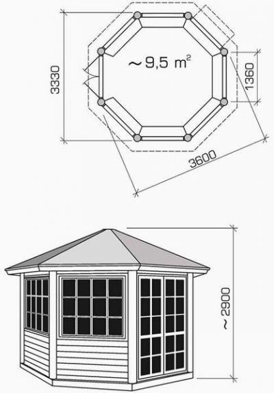 Чертеж с указанием размеров для восьмиугольного сооружения.