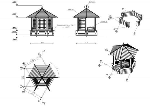 Чертежи шестиугольного сооружения.