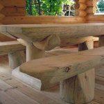 Деревянный стол и лавки для беседки