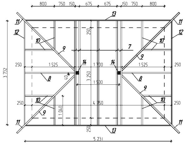 Ещё одним важнейшим элементом является крыша и её детальное представление на бумаге (см. обозначения по спецификации)