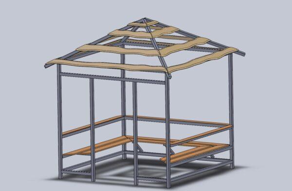 Эскиз простой металлической беседки квадратной формы