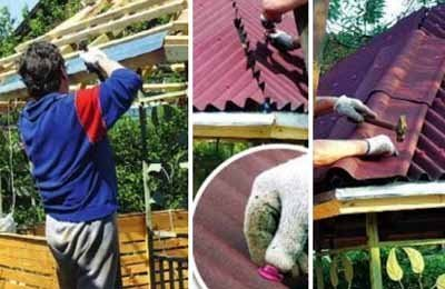 Это фото и ещё два в этой статье показывают различные ситуации создания крыши и крепления на ней кровли – очень ответственный этап строительства, тем более своими руками (фото «Е»)
