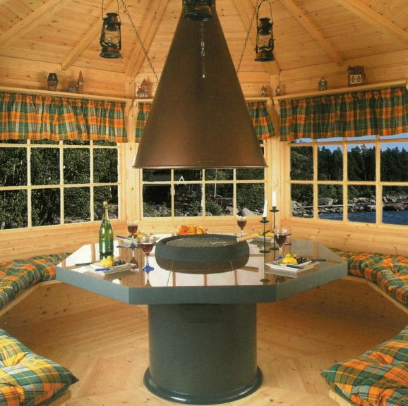Барбекю круглое финское гриль барбекю на даче из кирпича