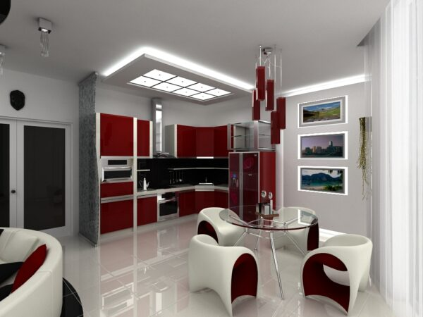 Кухня в едином стиле Хай-тек