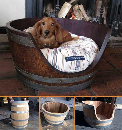 Будка-лежак из бочки подойдет как для маленьких, так и средних собак