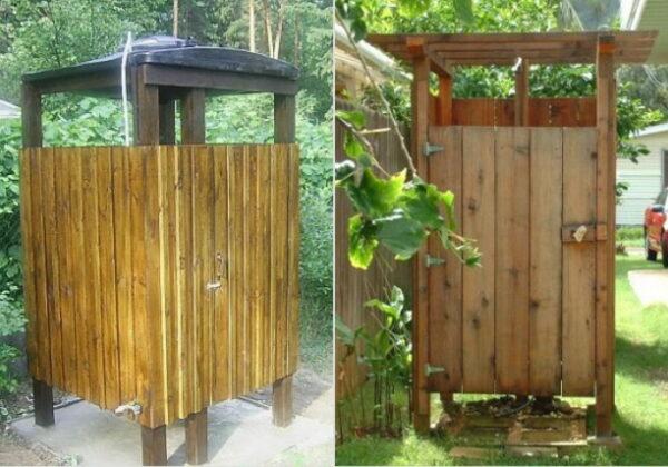 Летний душ из деревянных брусков и строганной доски