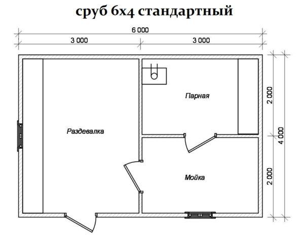 Классическая планировка сруба 6х4 м.