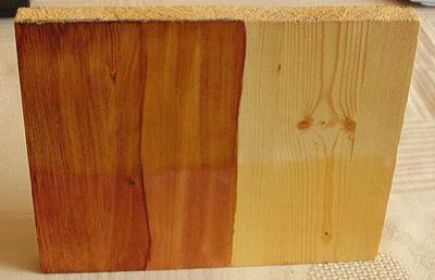 На фото- отличие между тонированной и не тонированной древесиной
