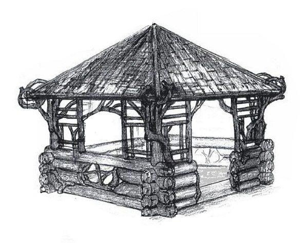 На фото эскизный проект места для отдыха.