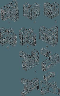 На фото показаны способы примыкания бревен в шип (7 позиция сверху)