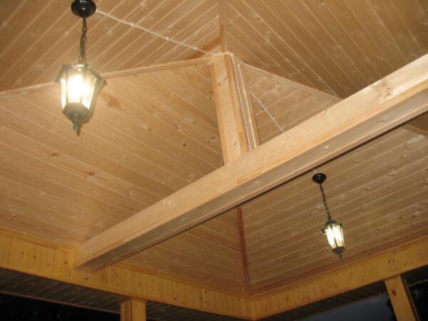 На фото представлено расположение фонарей под крышей.
