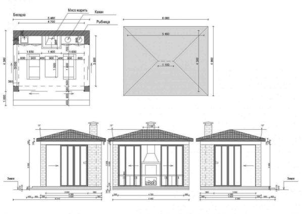 На схеме показана жаровня, встроенная в капитальную кирпичную стену