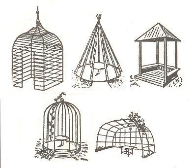 Несколько вариантов форм легких построек из лозы