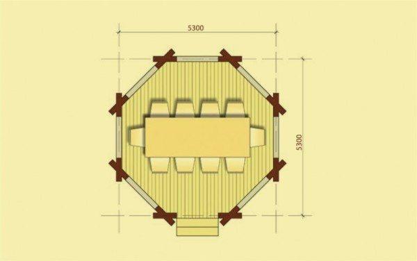 План основания восьмиугольной постройки.