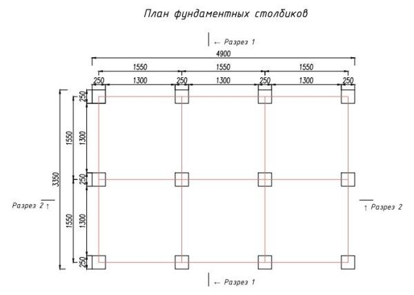 План-схема фундамента