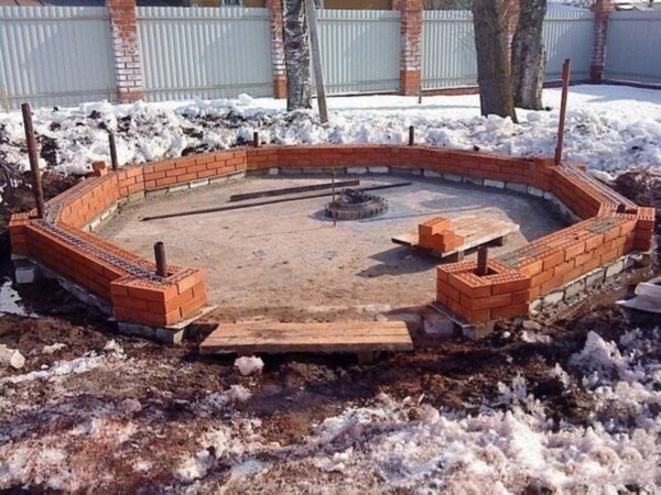 Плитное бетонное основание под капитальное строение из кирпича