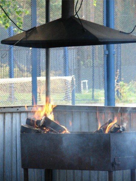 Правильный дымоход, установленный над мангалом