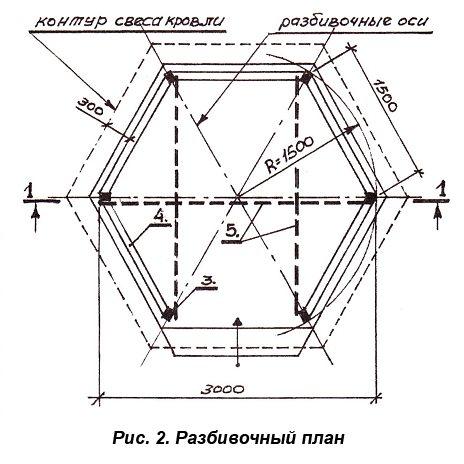 Представлен разбивочный план для шестигранной крыши.