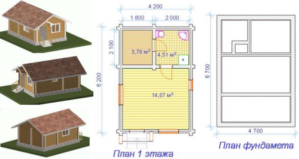 Проект бани 6,2х4,2 без террасы