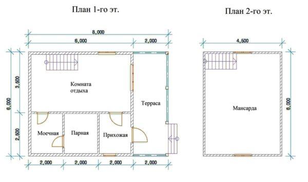 Проект кирпичной бани с мансардой 6х8 м.