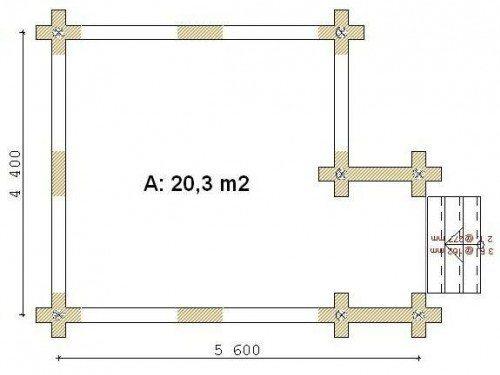 Простой план прямоугольной конструкции с указанием размеров