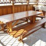 Прямоугольный стол с лавками для беседки