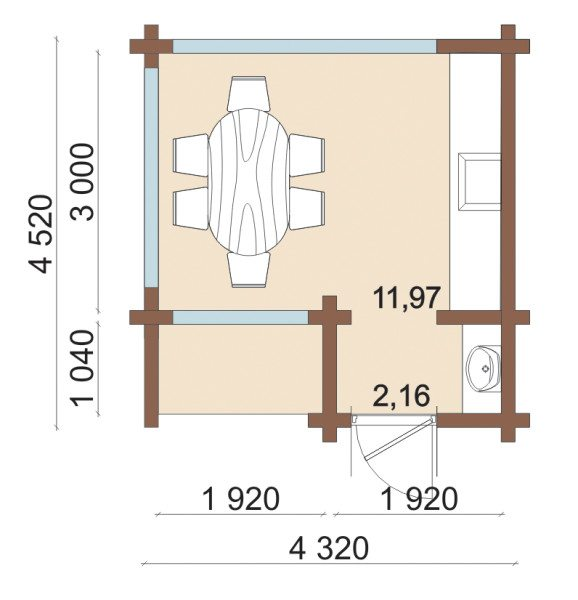 Расположение мебели и указание размеров стен