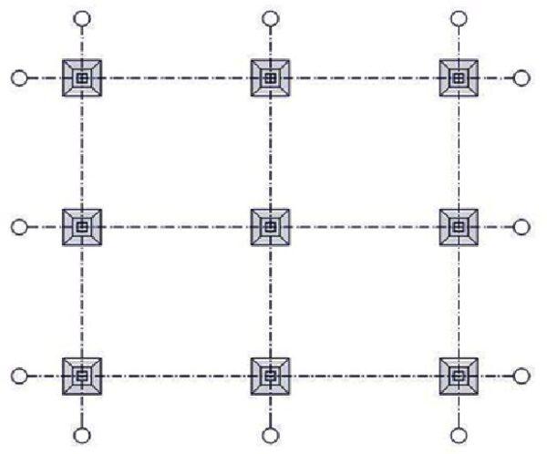 Расположение опорных блоков на схеме.