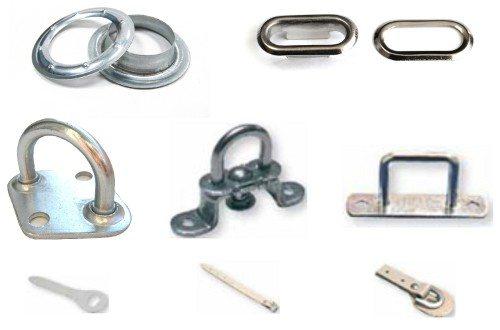 Различные скобы, ремешки и люверсы, применяемые при изготовлении штор ПВХ