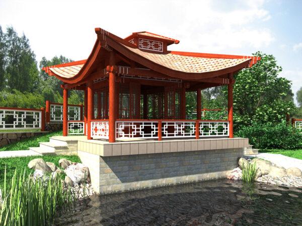 Садовая постройка в восточном стиле украсит своим видом загородную фазенду