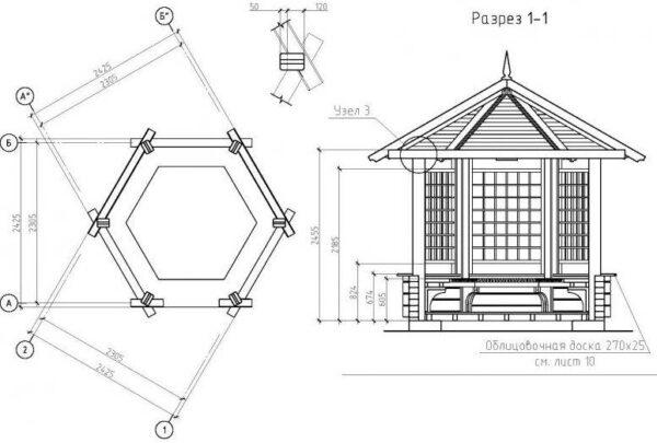 Сборочная схема с указанием габаритов и материалов