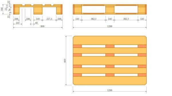Схема деревянных поддонов, изготовленных по стандарту ISO 6780