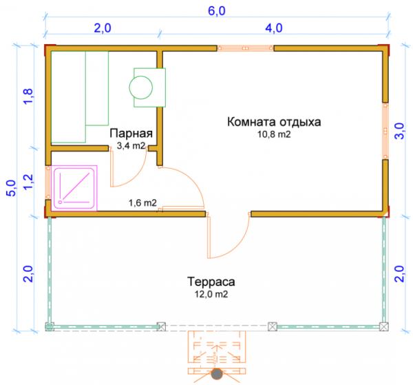 Схема компактного сооружения с террасой 5х6 м.
