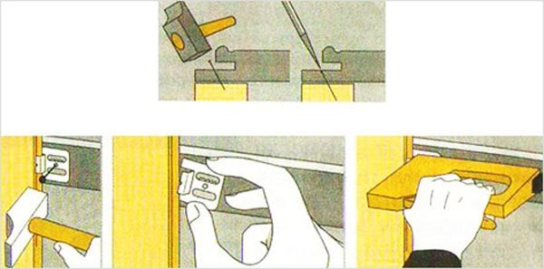 Схема крепления планок кляймерами.