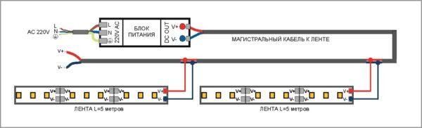 Схема параллельного подключения светодиодных лент.