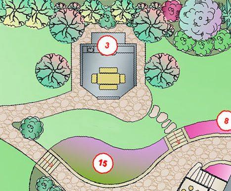 Схема-пример правильного расположения беседки с барбекю на участке (обозначена под №3).