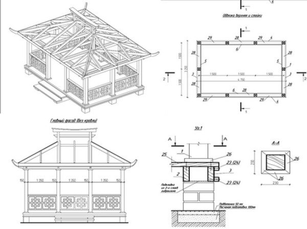 Схематический подробный проект постройки с обозначенными габаритами