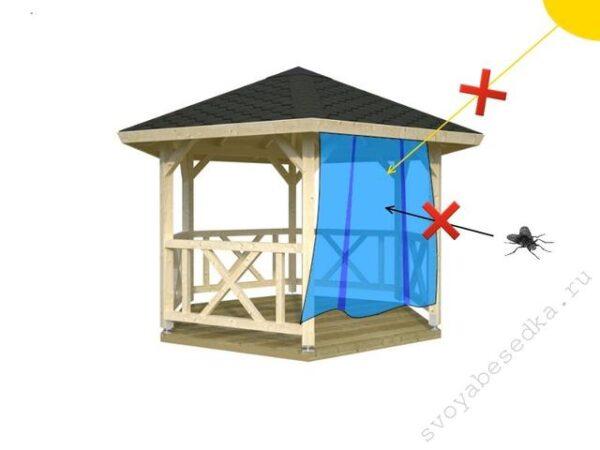 Шторки представляют собой надёжную защиту от насекомых и солнца