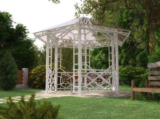 Следующая постройка имеет красивый внешний вид шестиугольной формы. Размеры: 2,9*2,6 м (диаметр 2,9 м, площадь – 5,1 м). Вход имеет размеры 970*2090 мм, а общая высота составляет 3 метра.