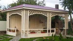 Сложный проект деревянной беседки большой площади с мангалом (фото «D»)