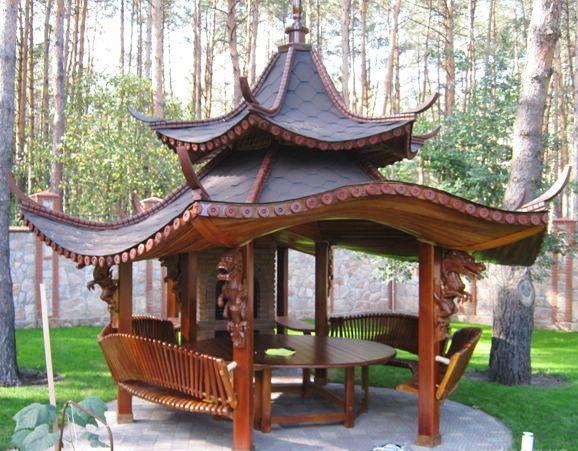Столик и небольшая печь — атрибуты павильона для распития чая