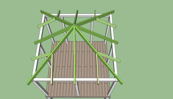 Стропила для четырёхскатной крыши квадратной беседки