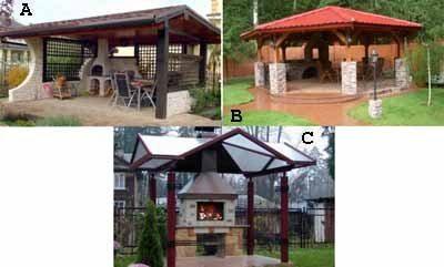Три варианта, когда дерево служит основой строения, но оно удачно поддерживается и кирпичными столбами и металлическим каркасом крыши