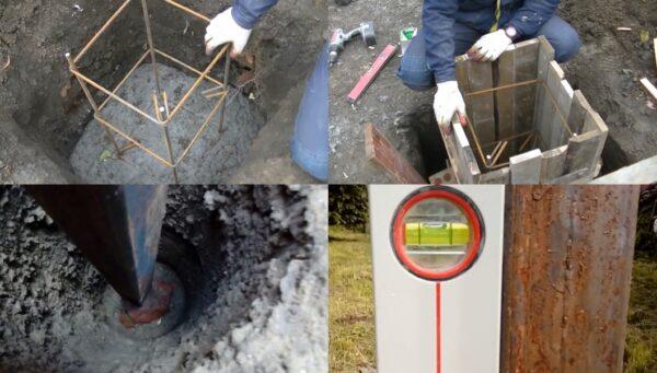 Устройство фундамента предполагает бетонирование столбиков с обязательным монтажом закладных элементов