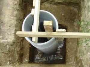 В ямы ставим асбестовые трубы и бетонируем их снаружи и внутри.